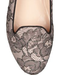 Valentino | Black Embellished Lace and Leather Loafers | Lyst