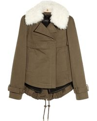 Derek Lam | Green Shearling-trimmed Cotton-blend Coat | Lyst