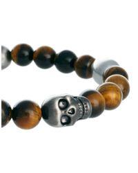 Simon Carter - Brown Beaded Skull Bracelet  for Men - Lyst