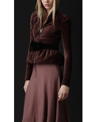 Burberry Prorsum   Purple Velvet Peplum Jacket   Lyst