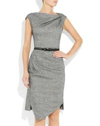 Michael Kors | Gray Draped Wool and Silkblend Tweed Dress | Lyst