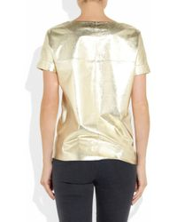 Maje - Suzanne Metallic Leather Tshirt - Lyst