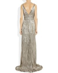 Oscar de la Renta | Metallic Pleated Lamé Gown | Lyst