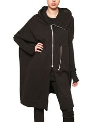 Rick Owens | Black Oversize Cotton Fleece Sweatshirt | Lyst