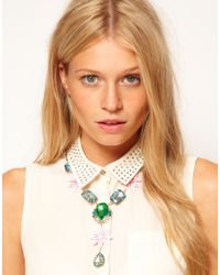 ASOS - Green Jewel Flower Necklace - Lyst