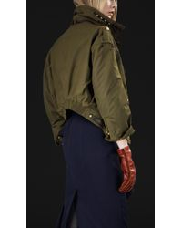 Lyst Burberry Prorsum Waxed Cotton Bomber Jacket In Green