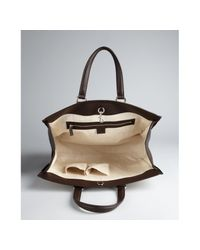 Gucci | Beige Gg Canvas Leather Trim Tote for Men | Lyst