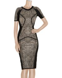 Hervé Léger - Black Rubbereffect Bandage Dress - Lyst