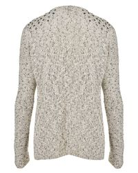 TOPSHOP - Gray Knitted Stud Tweed Cardigan - Lyst
