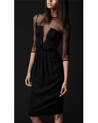 f2298e81acee Burberry Prorsum Mesh Top Silk Dress in Black - Lyst