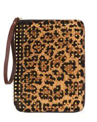 Christian Louboutin | Gold Cris Leopard Print Ponyskin Ipad Case | Lyst
