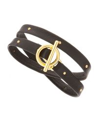 Gorjana - Black Studded Leather Wrap Bracelet - Lyst
