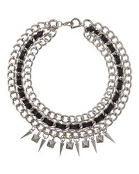 Fallon - Metallic Silver Triple Chain Necklace with Leather Spikes - Lyst