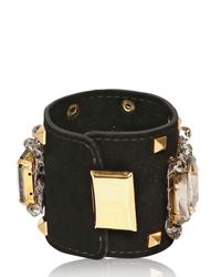 Gedebe | Black Bijoux and Studs Suede Bracelet | Lyst