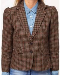 ASOS Collection - Brown Asos Blazer in Heritage Check with Elbow Patches - Lyst