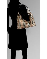 Burberry - Natural Medium Haymarket Check Belted Hobo - Lyst