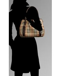 Burberry - Brown Small Haymarket Check Tote Bag - Lyst