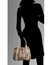 Burberry - Natural Small Smoked Check Tote Bag - Lyst