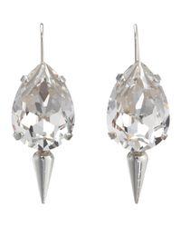 Fallon - Metallic Crystal Small Teardrop Earrings with Spike - Lyst