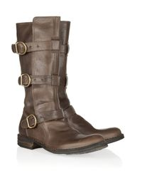 Fiorentini + Baker - Brown Eternity Buckled Leather Midcalf Boots - Lyst
