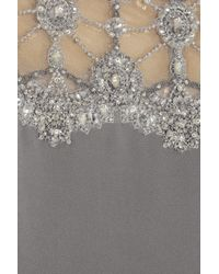 Marchesa | Gray Crystal and Beadembellished Silkcrepe Gown | Lyst