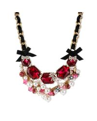 Betsey Johnson - Pink Gold Tone Fuchsia Crystal and Glass Pearl Frontal Necklace - Lyst