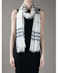 Burberry | Beige Silk Blend Scarf | Lyst