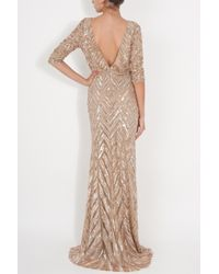 Elie Saab | Natural Three Quarter Sleeves Gown | Lyst
