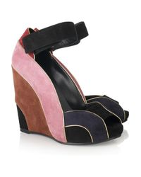 Pierre Hardy | Black Color-block Suede Wedges | Lyst