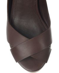 Ralph Lauren Collection - Brown Filaria Leather Wedge Sandals - Lyst