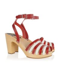 Swedish Hasbeens | Red Striped Beack Leather Clog Sandals | Lyst
