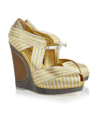 Saint Laurent - Maggy Metallic Leather Wedges - Lyst
