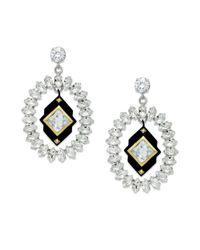 Juicy Couture | Metallic Silver Tone Rhinestone Drama Earrings | Lyst