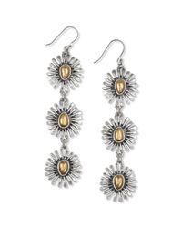 Lucky Brand | Metallic Two Tone Floral Triple Drop Earrings | Lyst