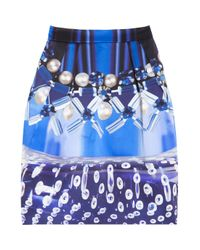 Mary Katrantzou | Blue Algernon Printed Faille Mini Skirt | Lyst