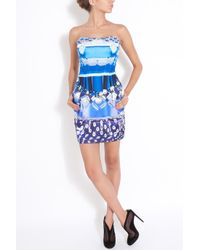 Mary Katrantzou | Blue Mini Corollaskirt in Silk with Allover Digital Print | Lyst