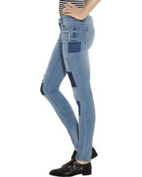 MICHAEL Michael Kors - Blue Patchwork Low-rise Leggings-style Jeans - Lyst