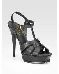 Saint Laurent | Black Tstrap Lizard Embossed Leather Sandals | Lyst