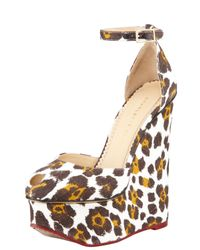 Charlotte Olympia | Multicolor Leopard Print Wedge Sandals | Lyst