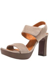 Chie Mihara | Natural Cody Suede Slingback Platform Sandals | Lyst