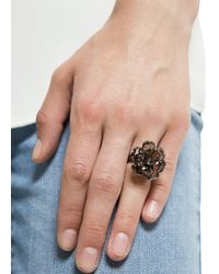 Mango - Black Touch Flower Ring - Lyst
