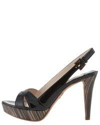 Prada - Brown Cork Leather Crisscross Strappy Woven Platform Sandals - Lyst