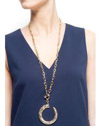 Mango | Metallic Engraved Horn Necklace | Lyst