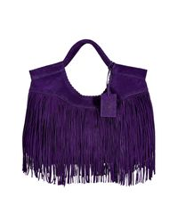 Ralph Lauren Collection - Purple Double Handle Fringed Suede Tote - Lyst