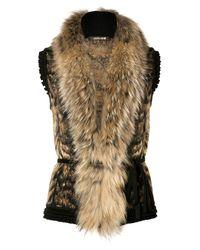 Roberto Cavalli   Brown Bronzewhite Fur and Knit Combo Vest   Lyst