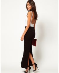 f001f7d3b4 ASOS Collection Asos Maxi Skirt with Back Split in Black - Lyst