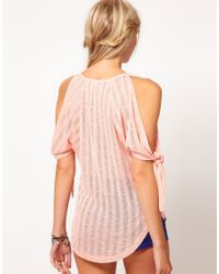 ASOS Collection | Pink Asos Cut and Sew Open Shoulder Top | Lyst