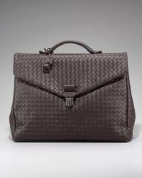 Bottega Veneta | Dark Brown Woven Leather Flap Briefcase for Men | Lyst