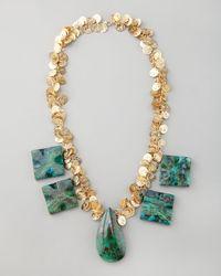 Devon Leigh - Blue Chrysocolla Coin Necklace - Lyst
