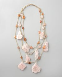 Devon Leigh | Pink Rose Quartz Necklace | Lyst